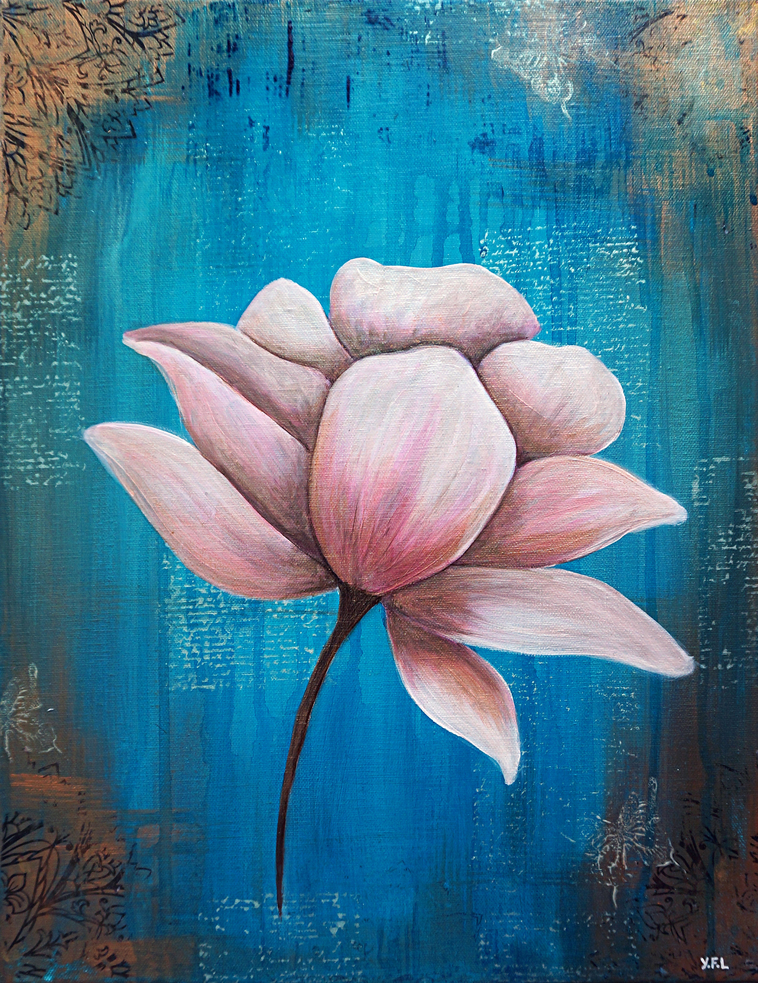 Teal Lotus-SOLD