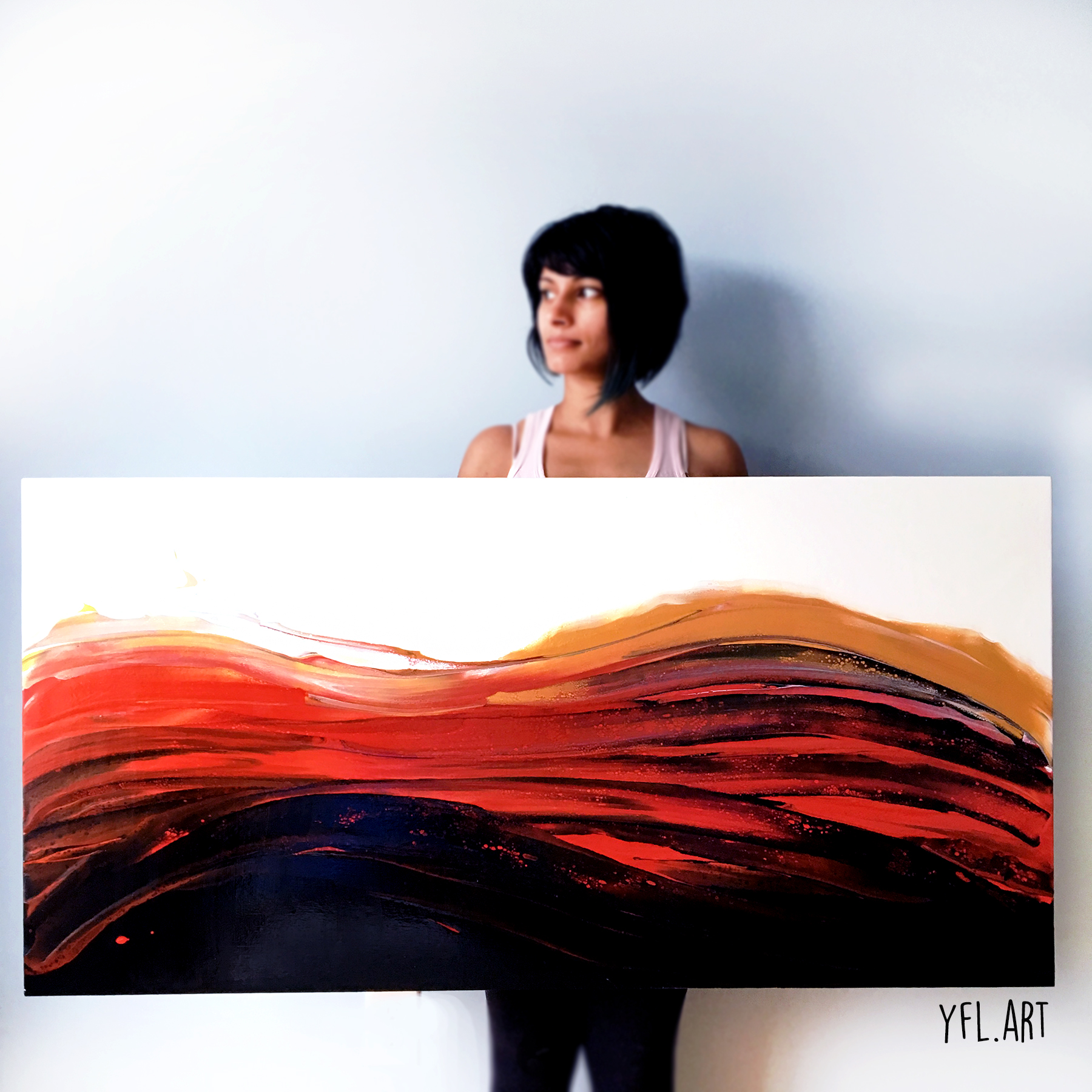 Turbulent - Fluid art  and resin - AVAILABLE- Contact to purchase- 24x48 inches