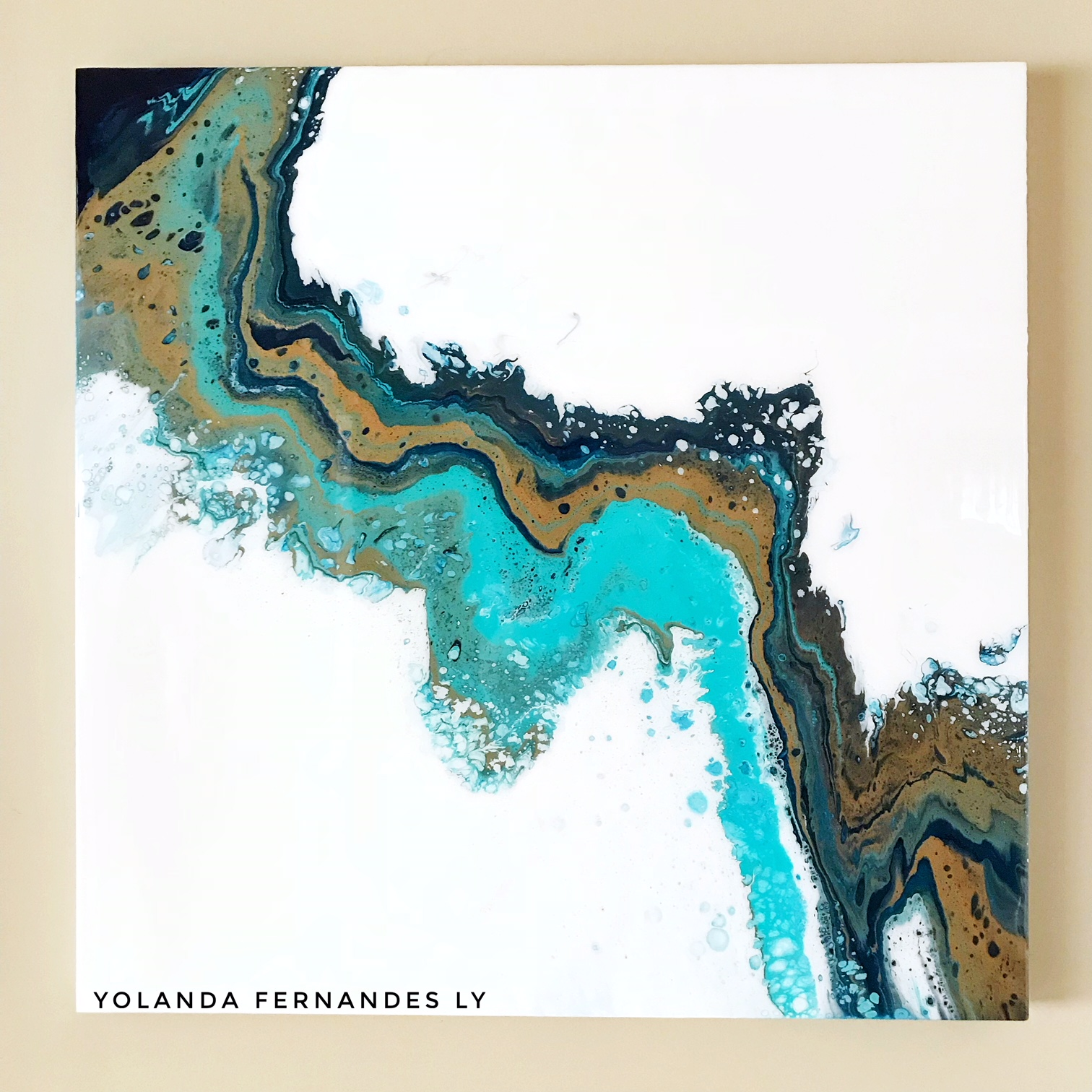 Aqua Views- Fluid art  and resin - SOLD-36x36inches