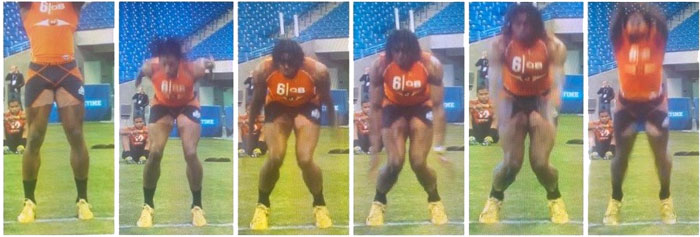 Notice how RG3's knees cave in as he takes off and lands his vertical and broad jump attempts. This is called valgus knee collapse, and this is poor mechanics.