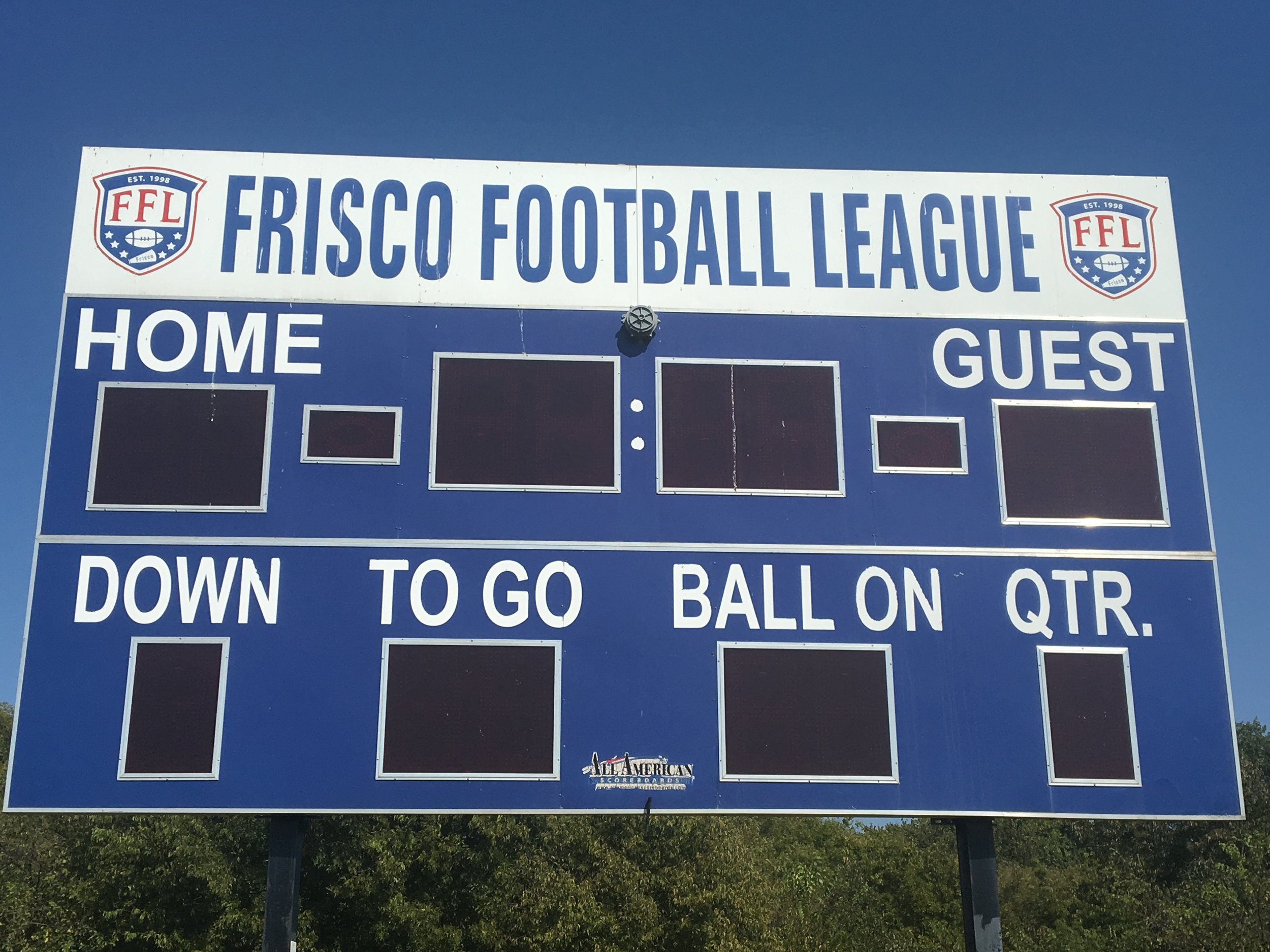 The FFL is the youth football league in Frisco, TX.