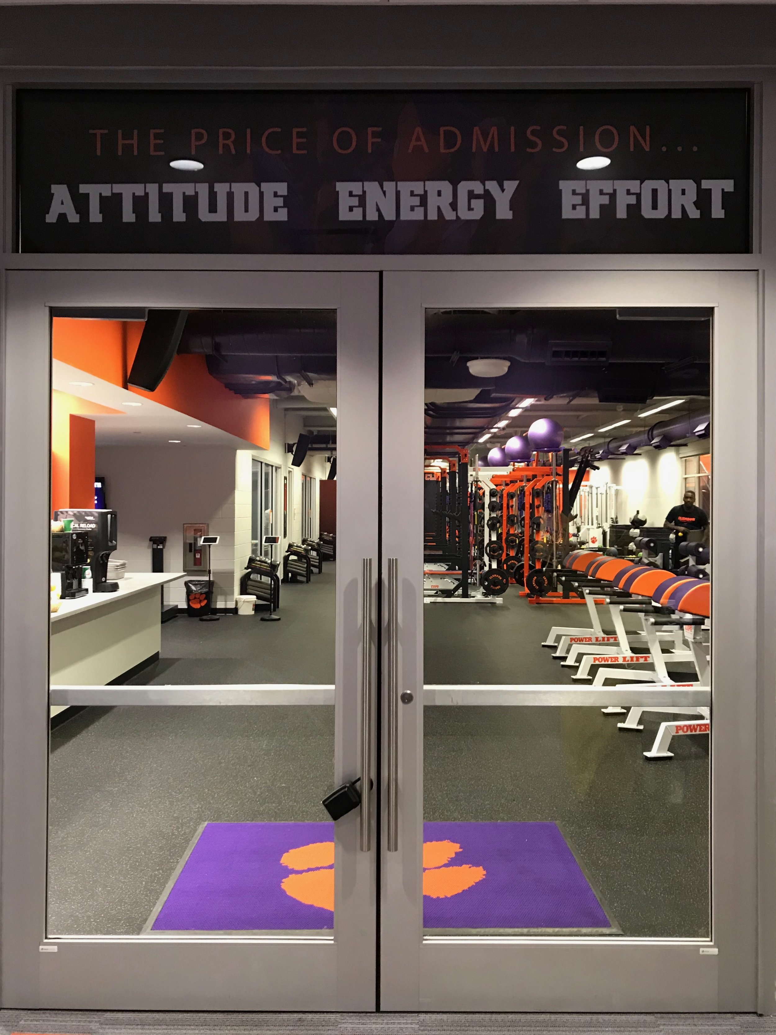 The doors to Clemson's strength and conditioning facility, where Kaitlyn Cunningham, MS, CSCS, SCCC, works with the women's basketball team.