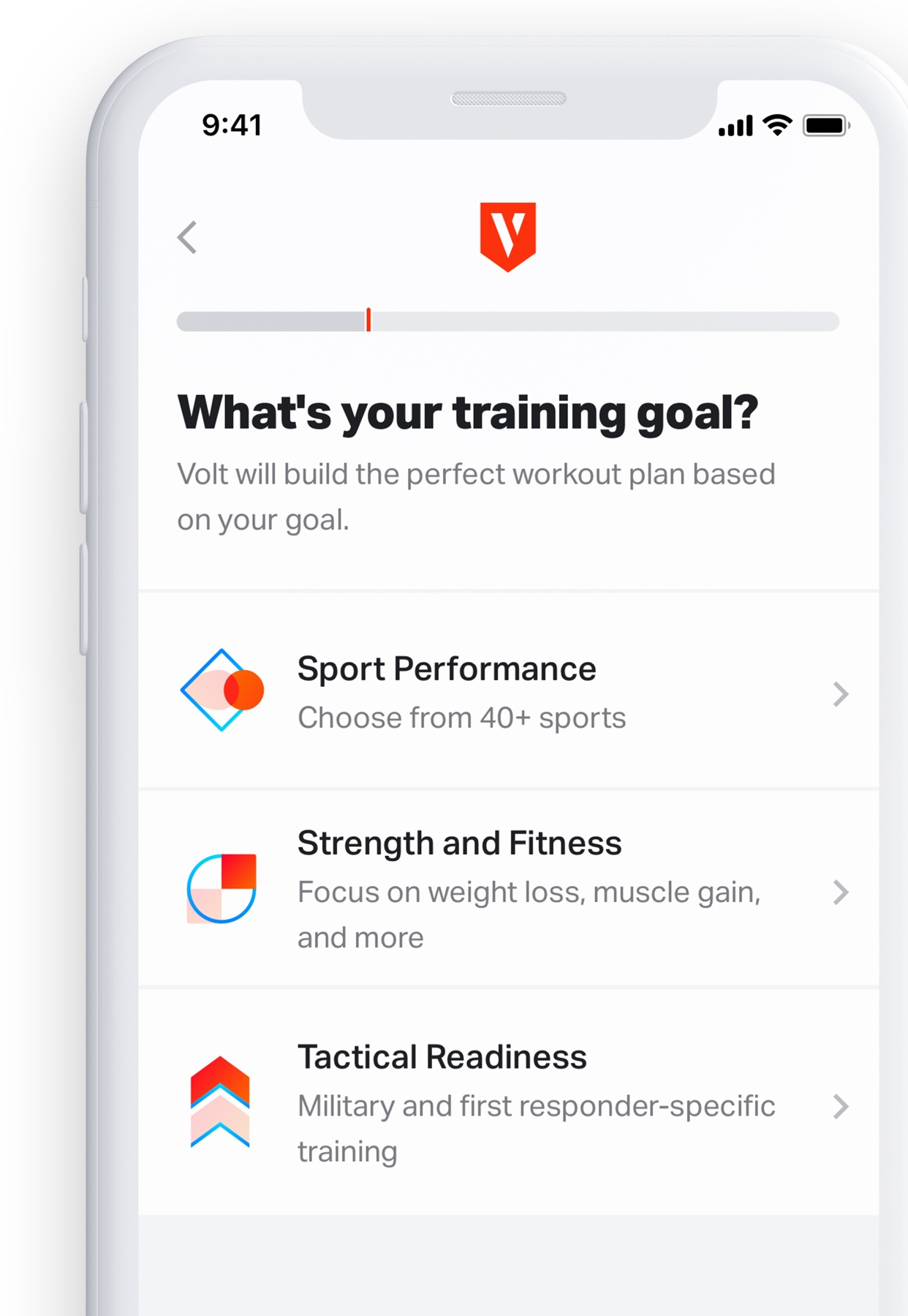 Volt's new training goals allow you to select from sport PERFORMANCE, strength and fitness, and tactical readiness depending on what your training goals are.