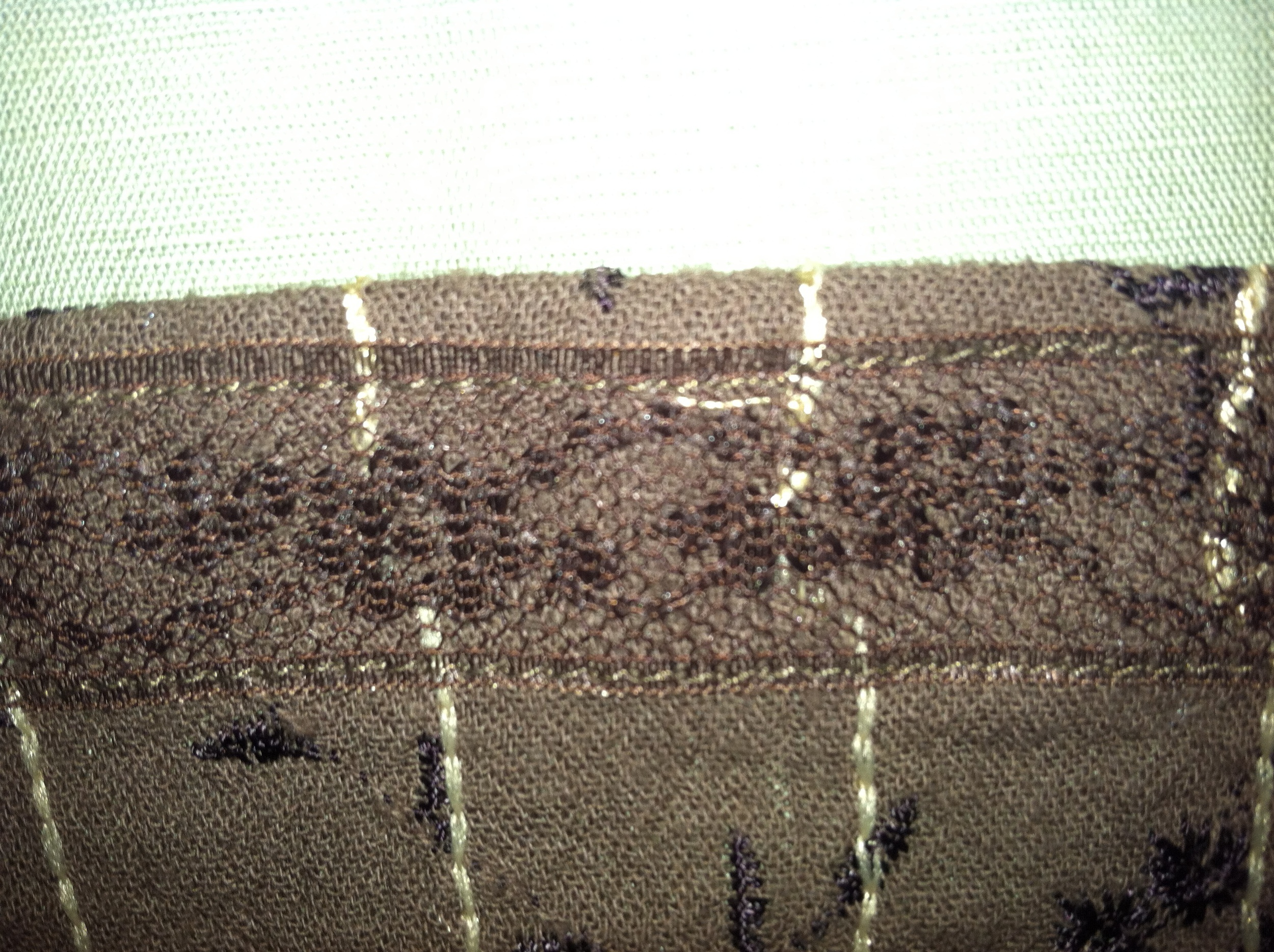 Here is the inside of the skirt hem. You can see the flexi lace and the raw edge is covered.