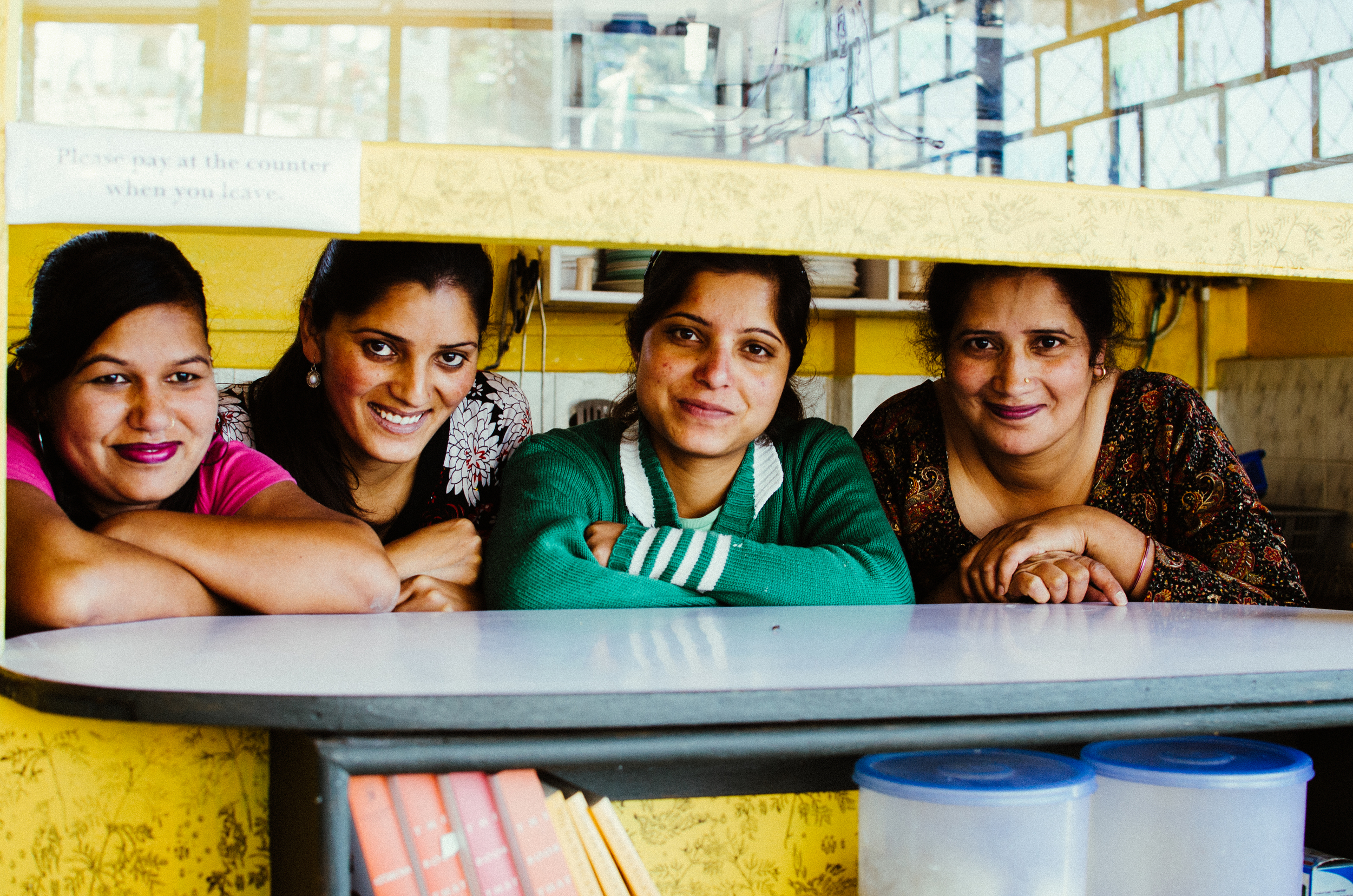 The women of Chhaya Cafe -  Sunita, Pooja, Kumlesh and Bina.  (Edited with VSCO film 04)