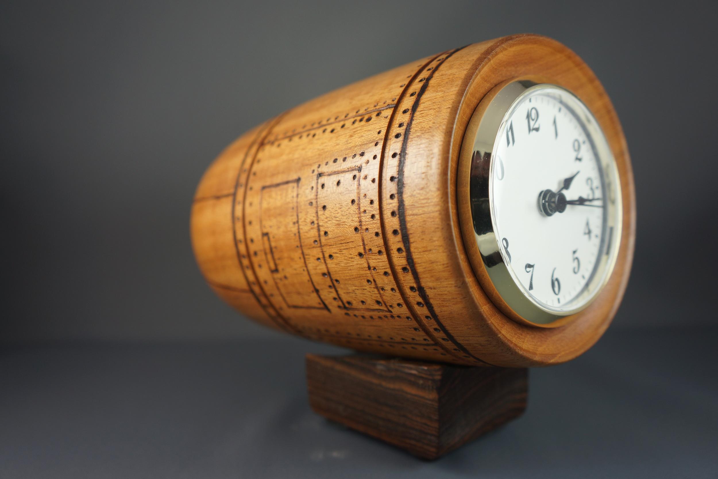 Mahogany Jet Engine Clock