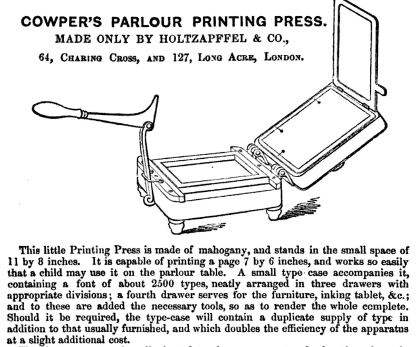 The Cowper's Parlour Printing Press, shown in an 1864 book, was intended for home use!