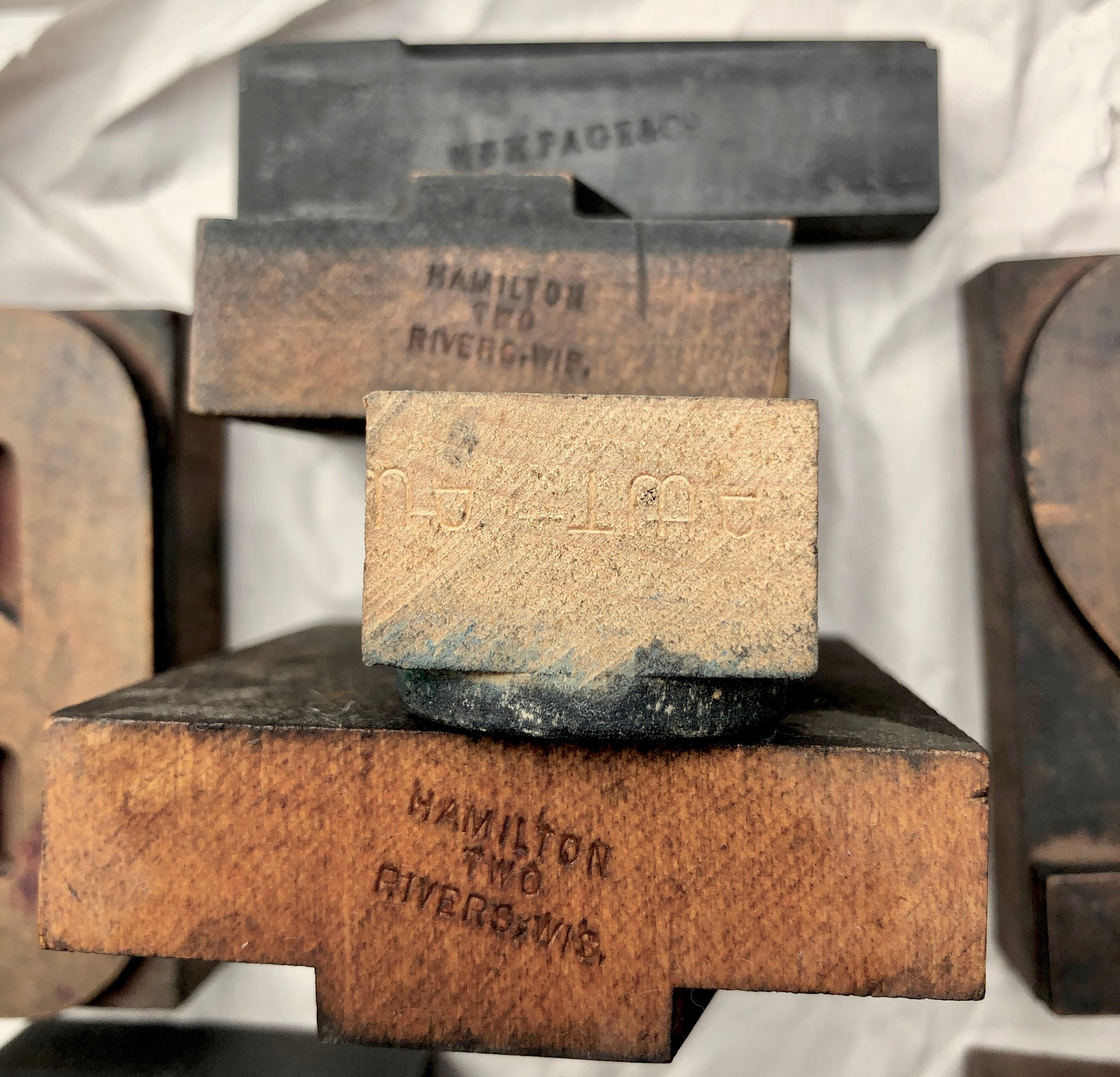 "Four of the pieces I've processed so far have factory marks: Hamilton Manufacturing Company (which was in Two Rivers, Wisconsin), AWT for American Wood Type (Long Island City, NY), and ""WmH.PAGE&Co"" for William H. Page & Company (Connecticut)."