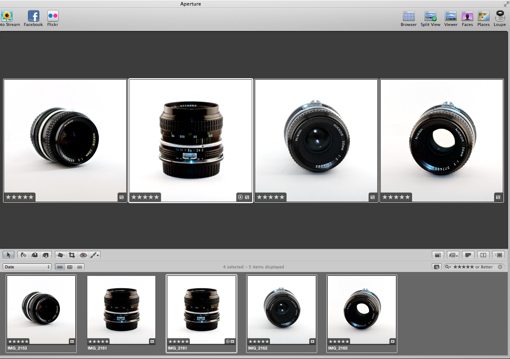 Editing the photos in Apple Aperture.
