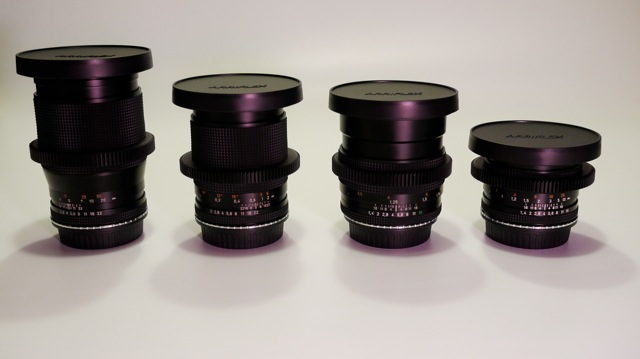 Set of Contax Zeiss lenses with Cinemod.