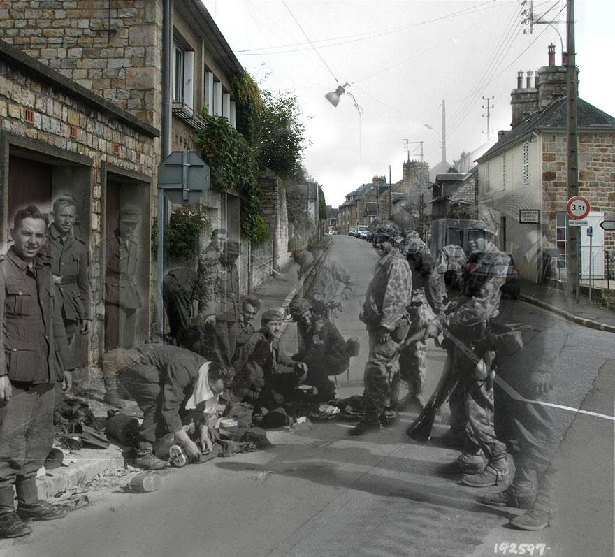 """""""France, 1944.Rue des Fossés Plissons à Domfront (Orne).German soldiers surrendering."""""""