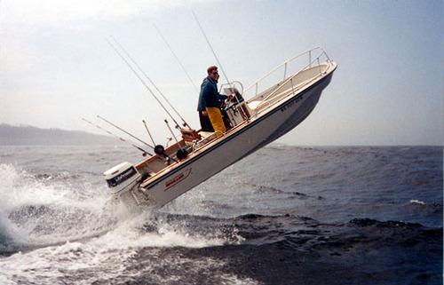 Boston Whaler getting vertical.