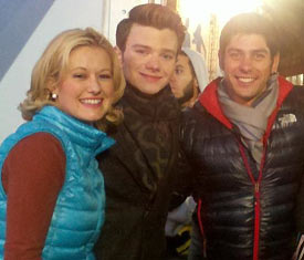 "Kim and Brent on the set of the popular television show ""Glee""."