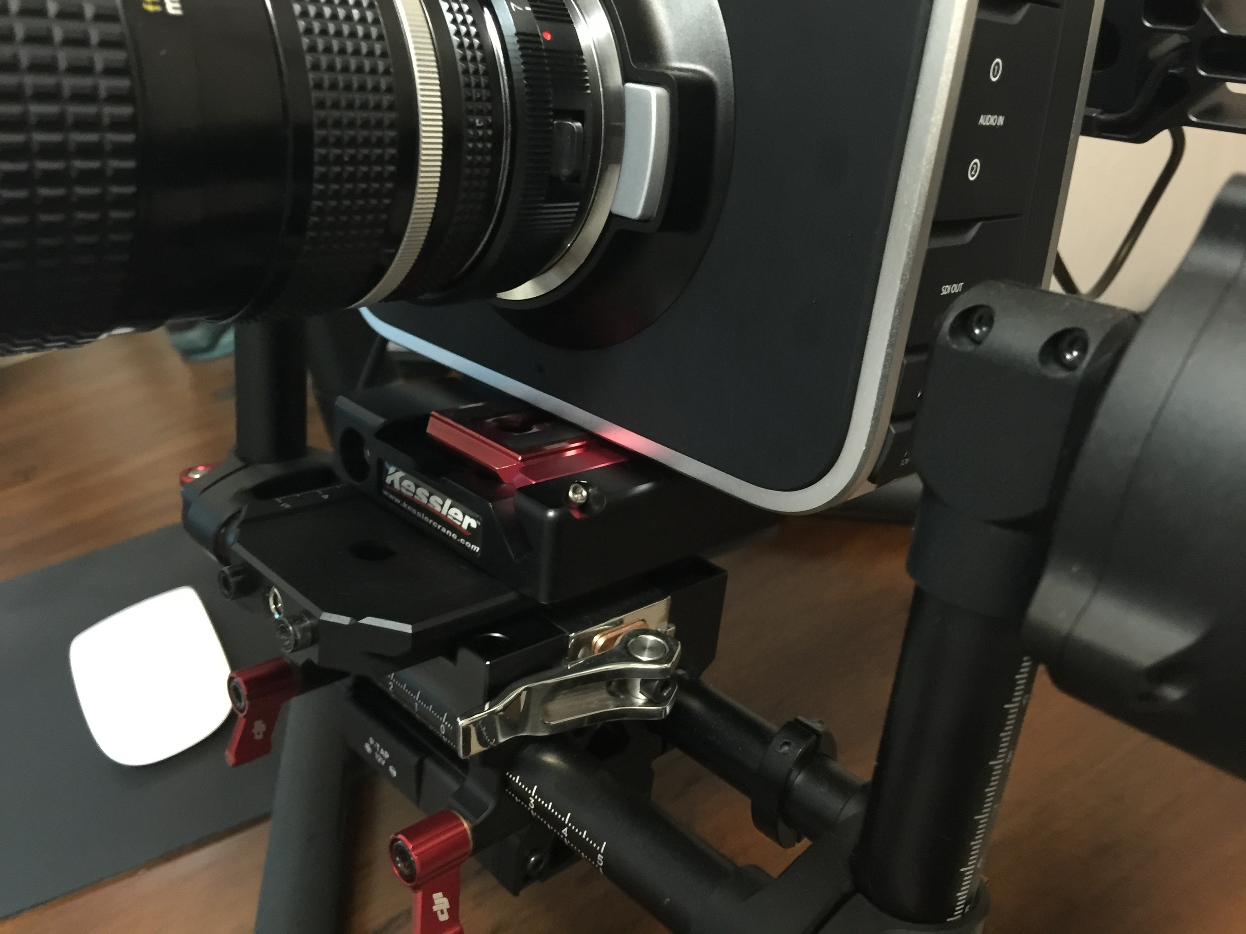On a DJI Ronin Gimbal in about 10 seconds.