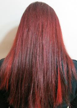 peek-a-boo highlights in fire engine red and black