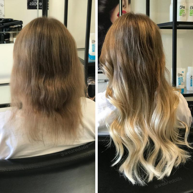 Blonde extensions short hair