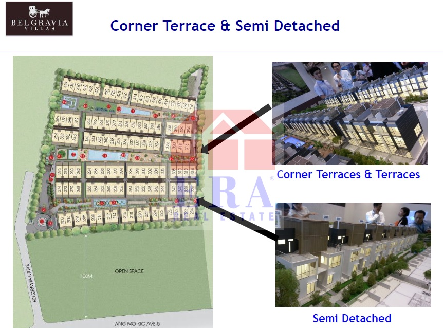 Location of Semi Detached and Corner Terraces