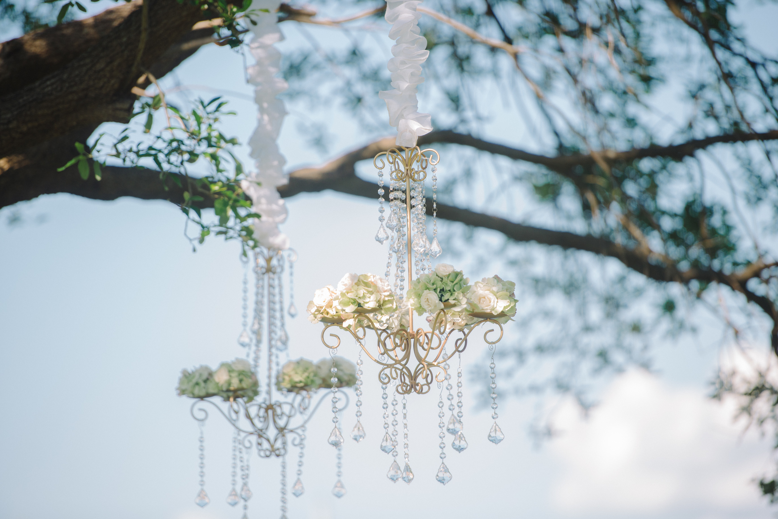 Floral Chandeliers hung in the tree.