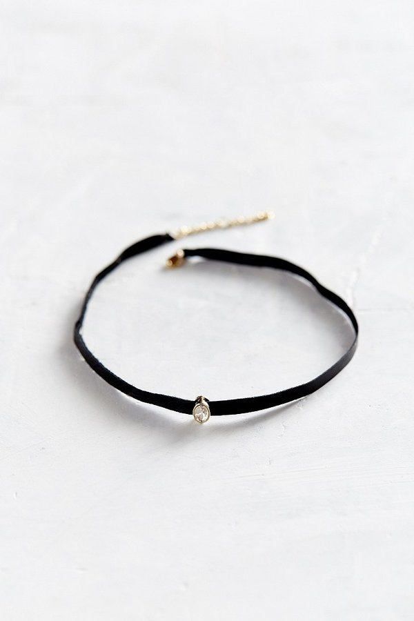Leather and Stone Choker Necklace