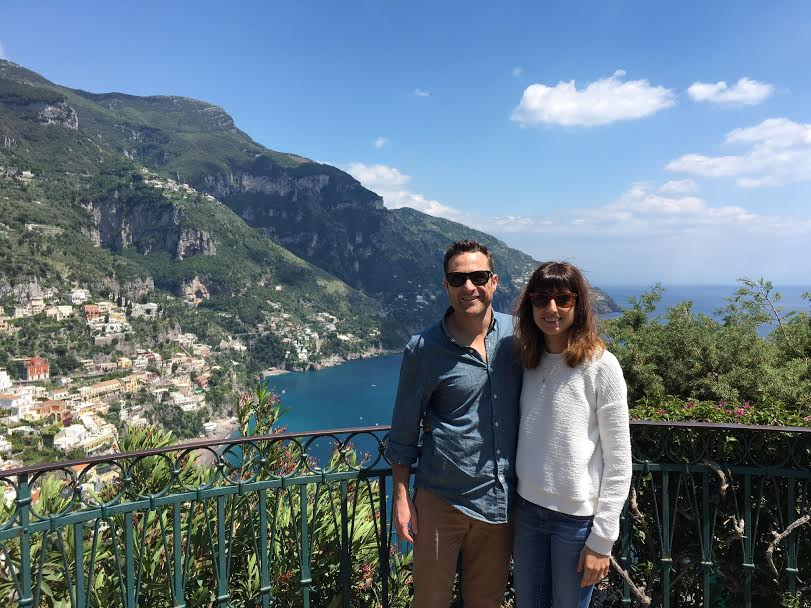 We have arrived! Our driver, Giovanni, stopped at this lookout over Positano to snap our picture.