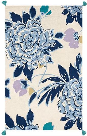 Floral Blooms Tassel Rug