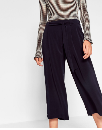 Zara Flowing Cropped Trousers   - $29.90  Elastic waist? YES. These pants will be a fall staple for sure. Pairing them with the below ankle boot will keep them looking super modern. Top it with the black sweater from above and you have a gorgeous monochromatic (super comfy) outfit.