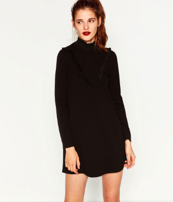 Zara Dress with Chest Frill in Black   - $49.90  Love this dress! I plan on wearing it as it is or topping it with the camel cardigan below (and of course the ankle boots). Grab a deep hue of lipstick and you are ready to go.