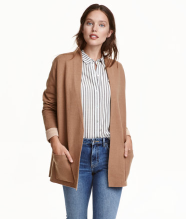 H&M Fine Knit Cardigan in Beige   - $59.99  I'll throw this over dresses, over button ups, and over one of my 10,000 t-shirts to take them from summer to fall instantly.