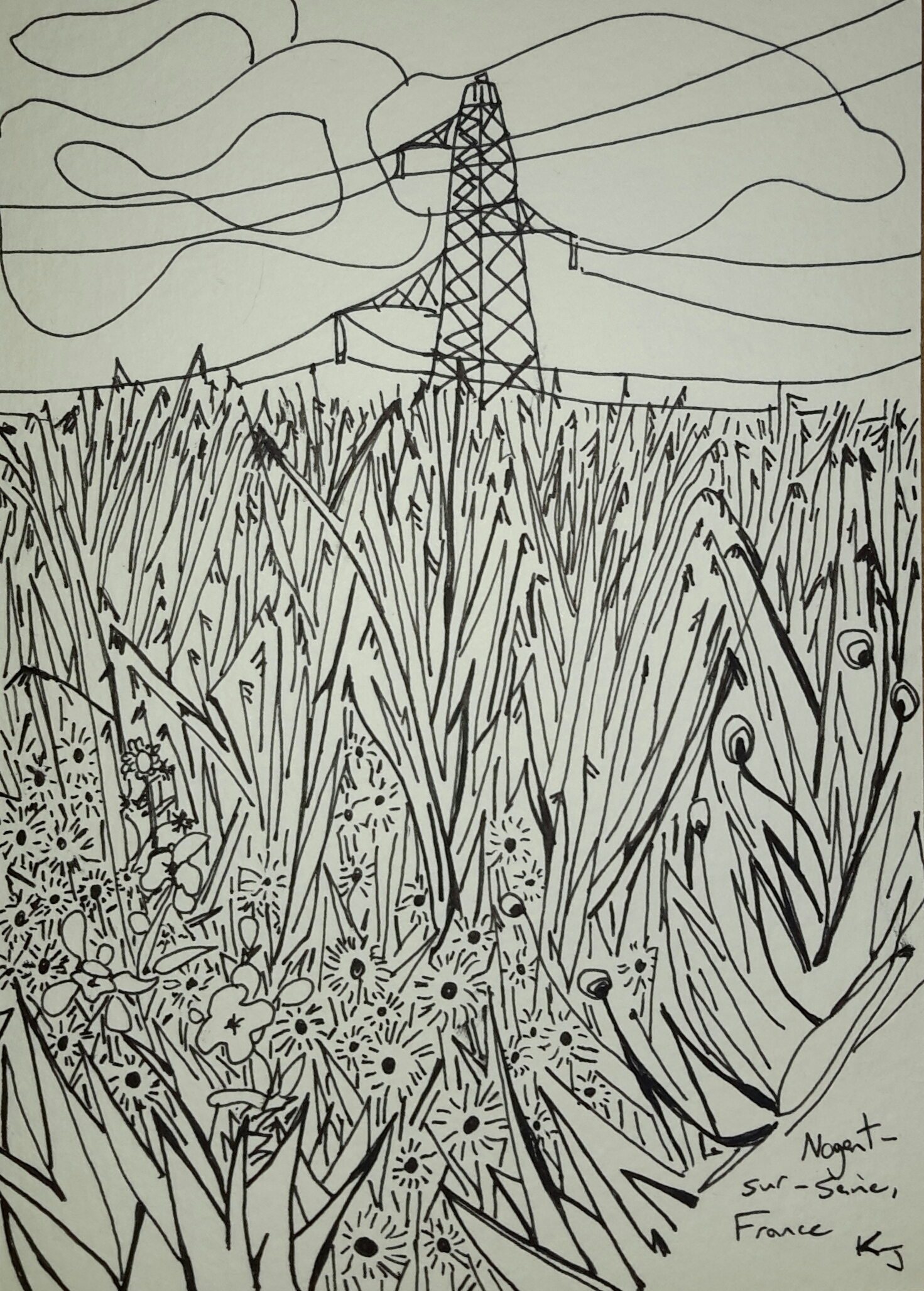The path between Marnay-sur-Seine and Nogent-sur-Seine,  ink on paper