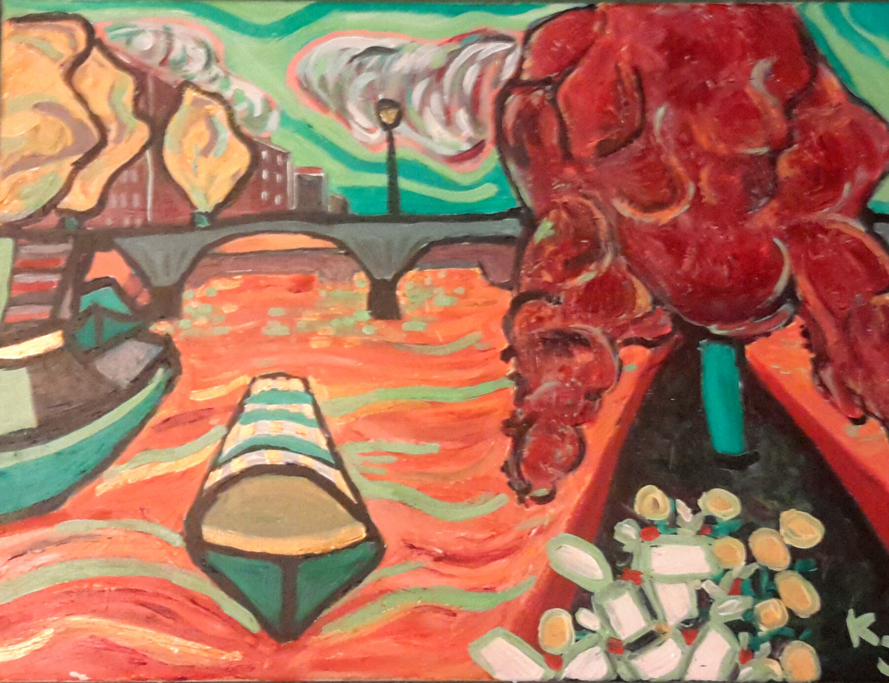 """Paris, France- from the tip of the Ile de la Cité at Square du Vert-Galant looking downstream at the Pont des Arts and oncoming boats. Acrylic on stretched canvas, 24""""wide x 18"""" high. $130,  for sale here ."""