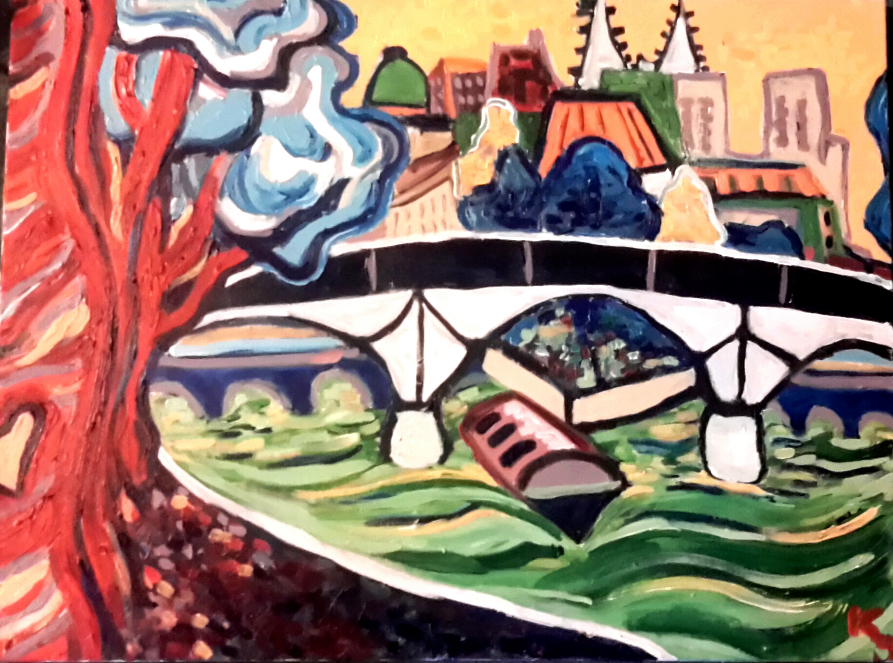 """Paris, France -Overlooking the Seine, facing upstream towards Ile de la Cité with the spires of Notre Dame in the distance. The nearby trees had beautiful carvings of hearts and names. This painting is 24""""w by 18""""h, $130,  for sale here ."""