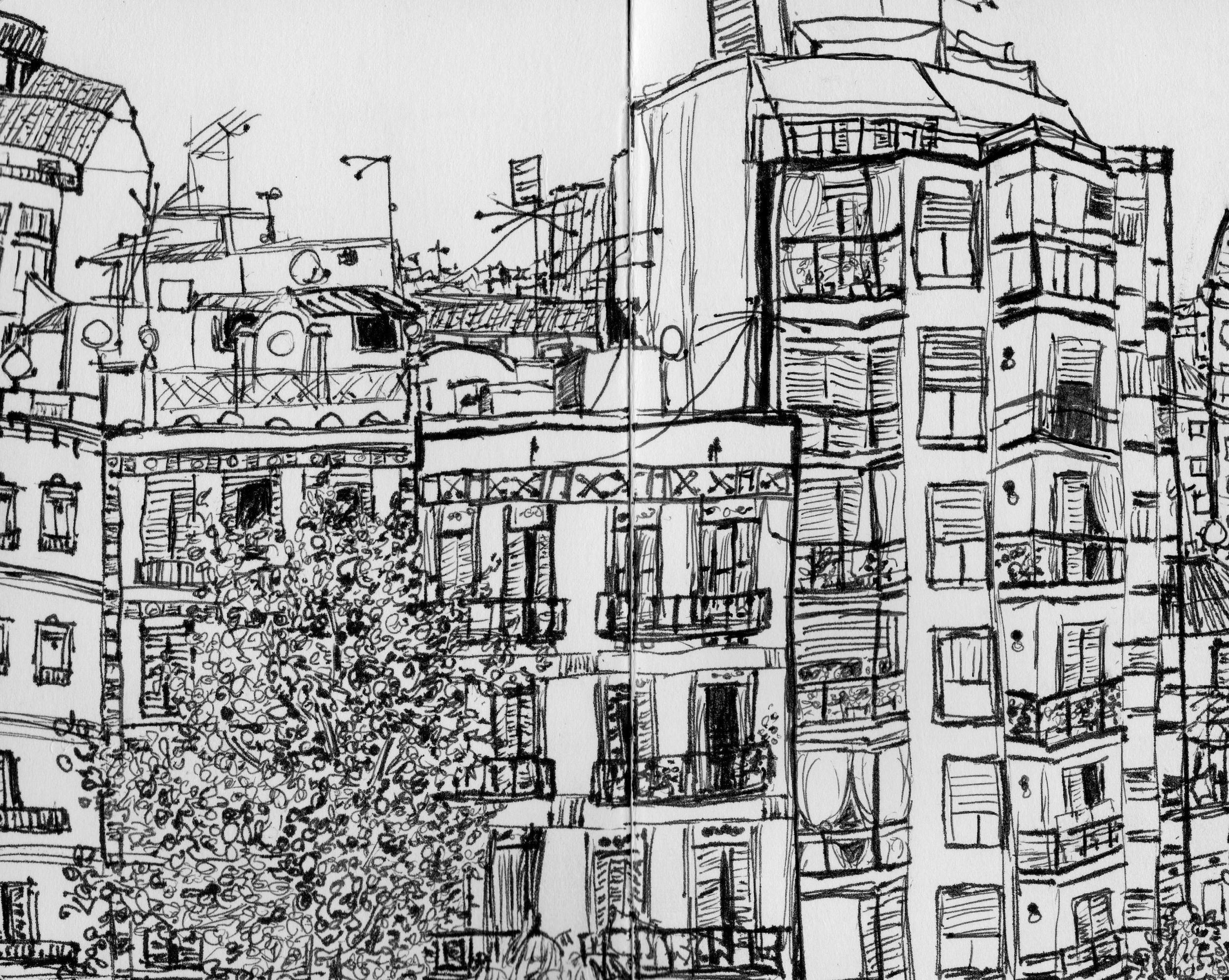 Katie Jurkiewicz drawing Barcelona Spain