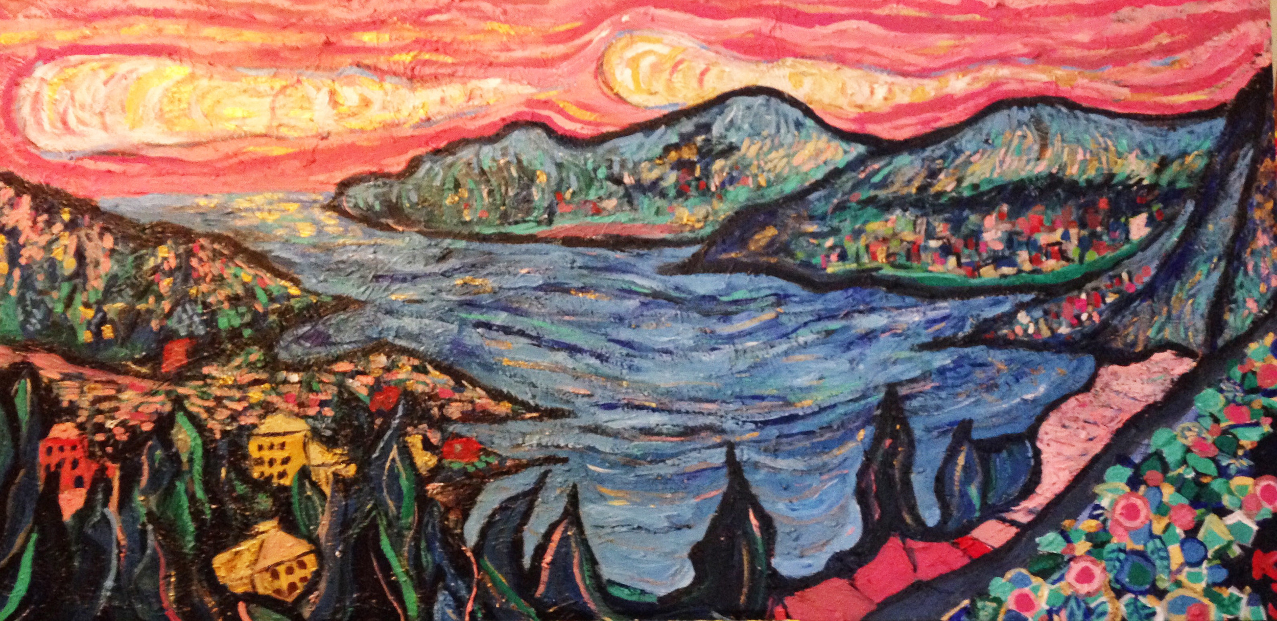 painted by me, the view from the Villa Ephrussi de Rothchild