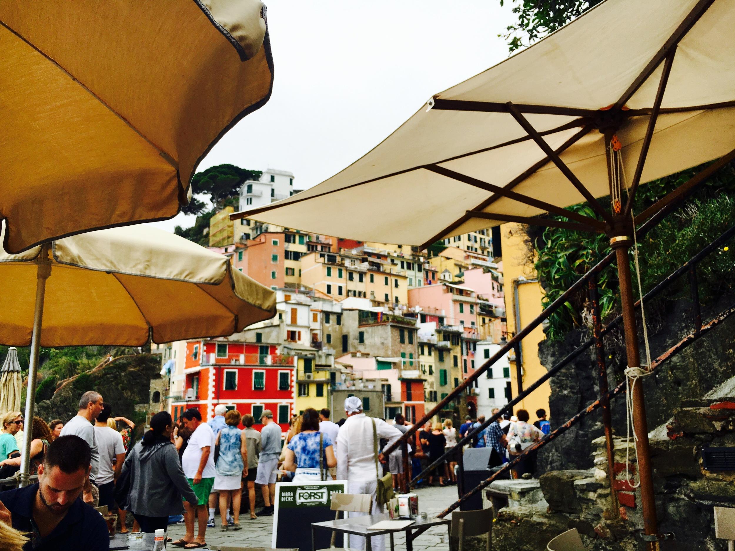 a view from a cafe in Riomaggiore, Cinque Terre, Italy