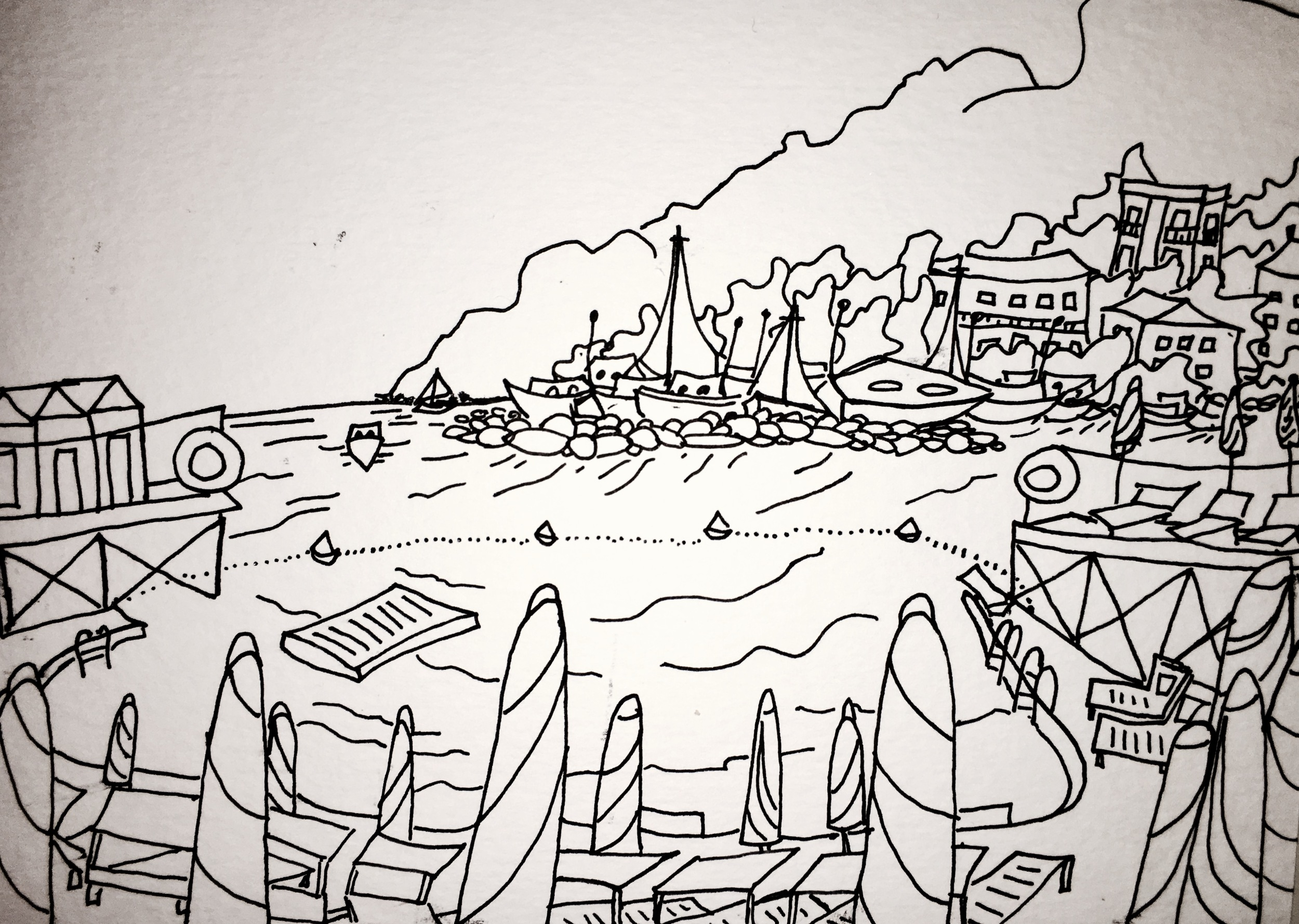 black and white line drawing of beach in Rapallo, Italy by Katie Jurkiewicz