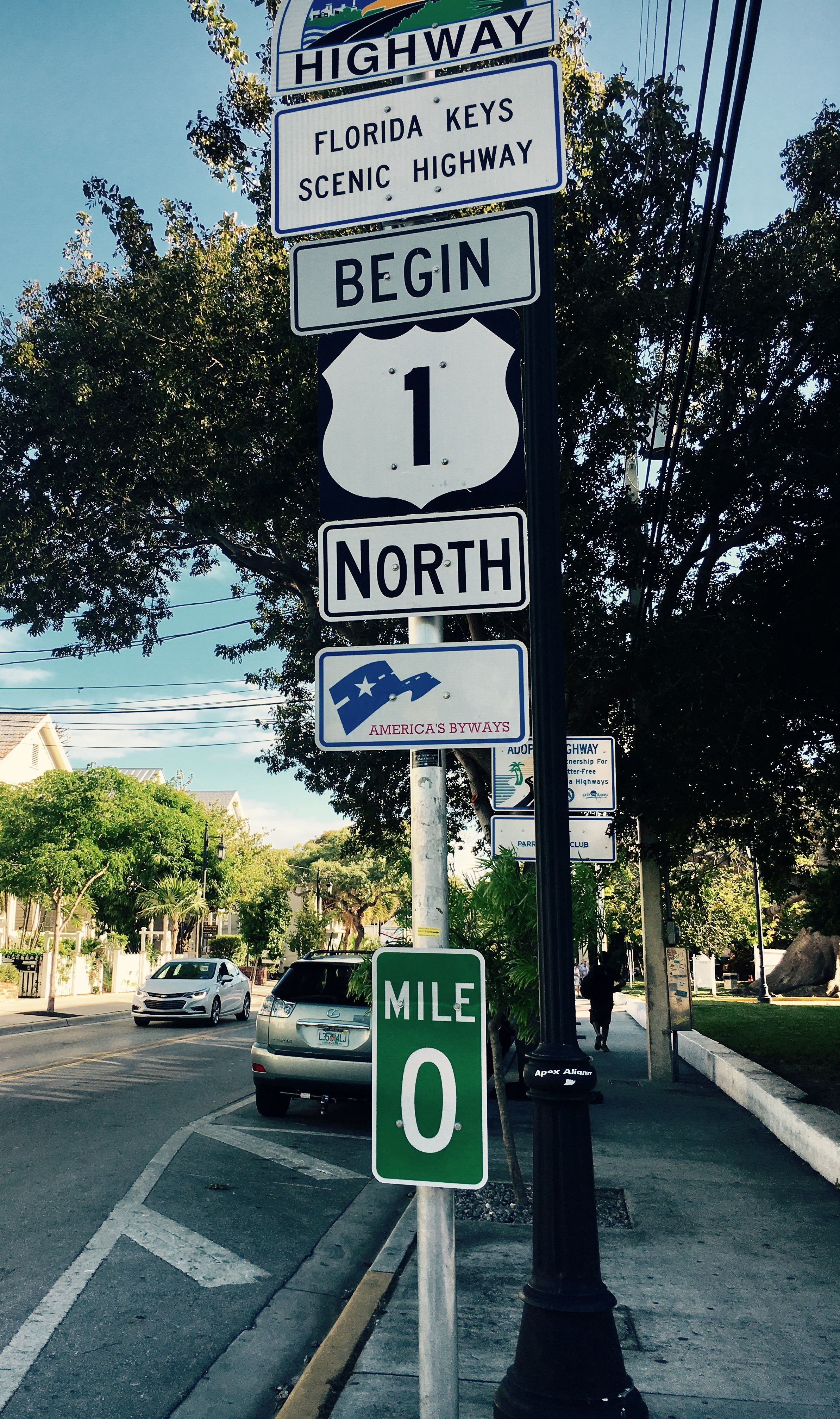 the beginning of highway 1 in Key West