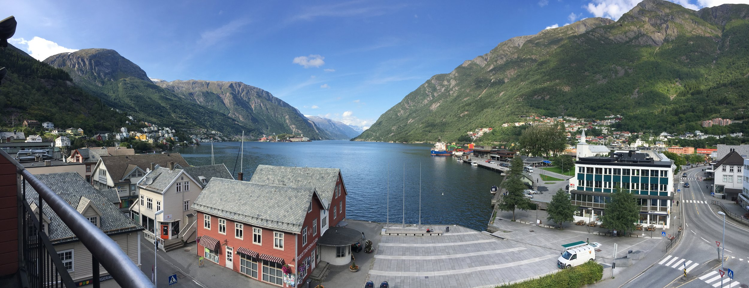 View from my hotel room at the Hardanger Hotel in Odda.