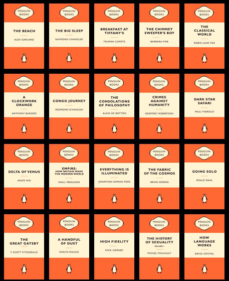 Some old Penguin classics, and some new titles with the classic Penguin treatment. Image credit: annoyingdragon.wordpress.com