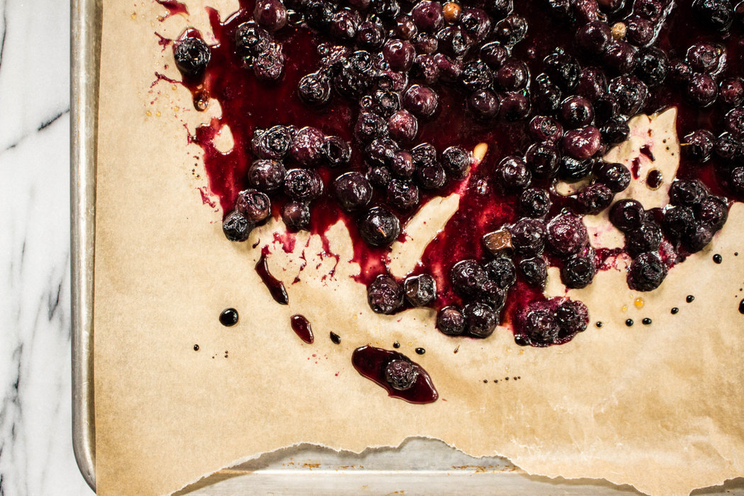 Roasted Balsamic Blueberries with Olive Oil Cake