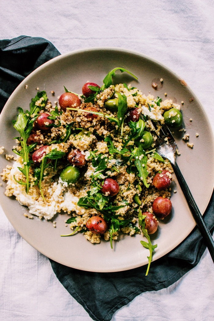Roasted Grapes, Arugula, Green Olive Quinoa Salad with Balsamic Reduction