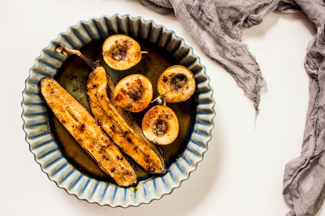 Grilled Pears + Bananas with Salted Brown Sugar and Pecans