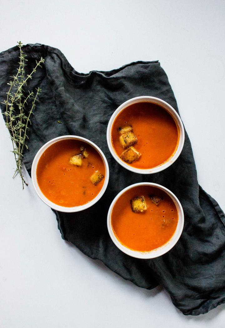 Creamy Tomato Soup with Polenta Parmesan Thyme Croutons-3.jpg