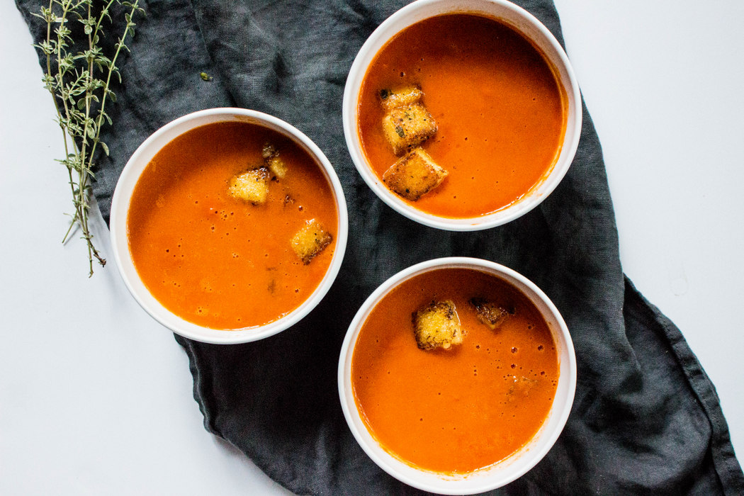 Tomato Soup with Parmesan Thyme Croutons