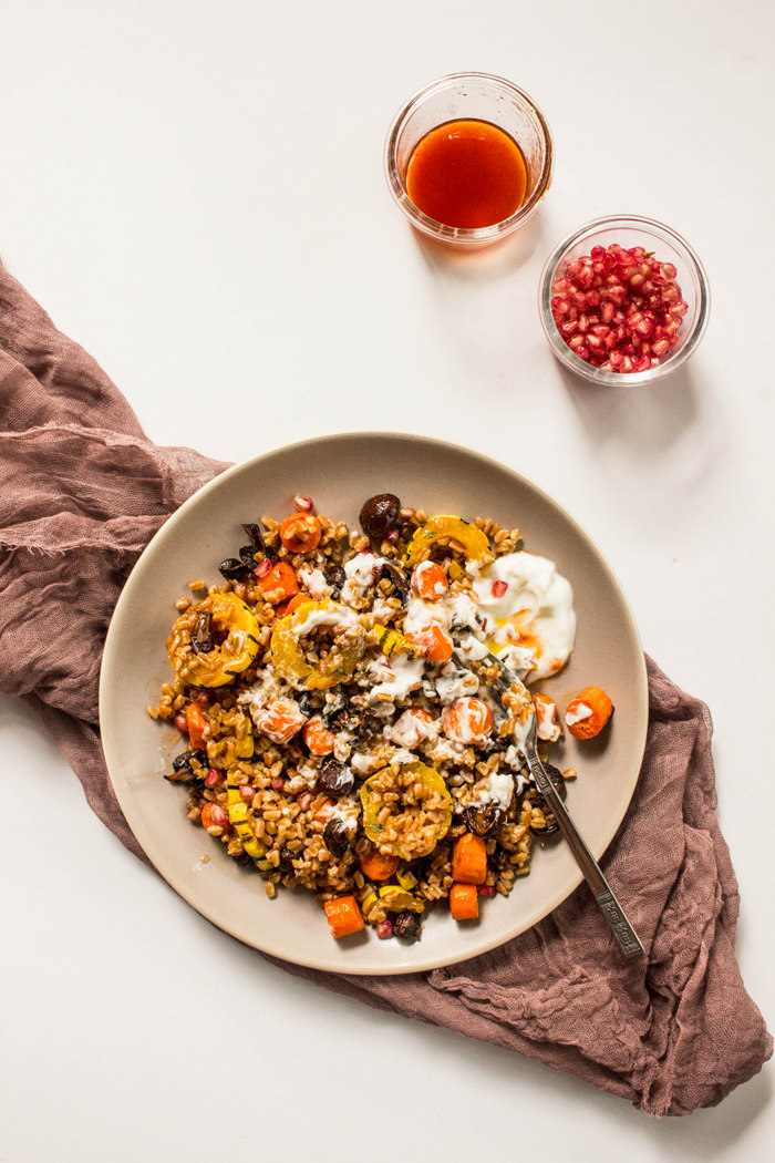Spicy Farro Salad with Roasted Vegetables