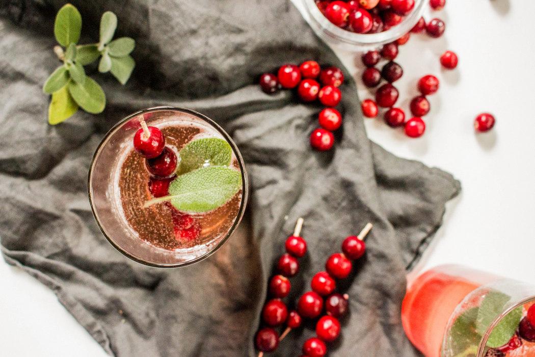 Sparkling Cranberry Sage Cocktail
