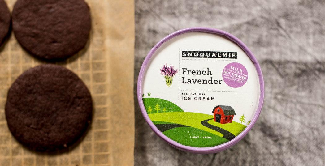 Salted Dark Chocolate Lavender Ice Cream Sandwich