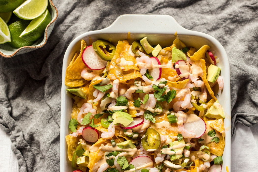 Spicy Shrimp Nachos with Chipotle Crema + Pickled Jalapenos