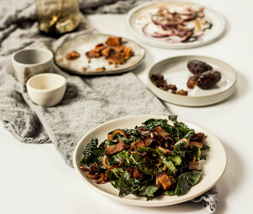 Kale Salad with Bacon, Dates + Balsamic Reduction