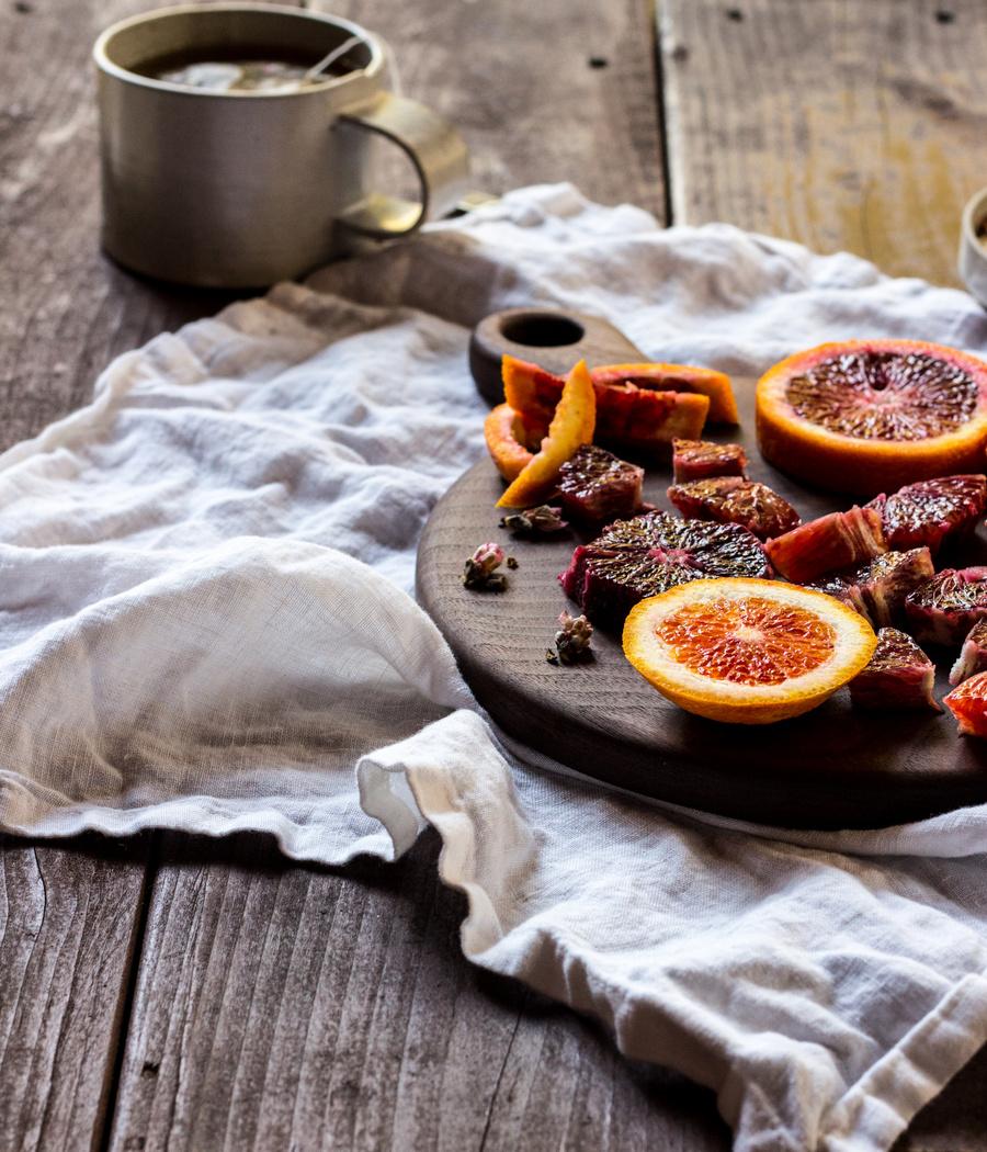 Blood Orange Almond Steel Cut Oats with Orange Blossom Syrup