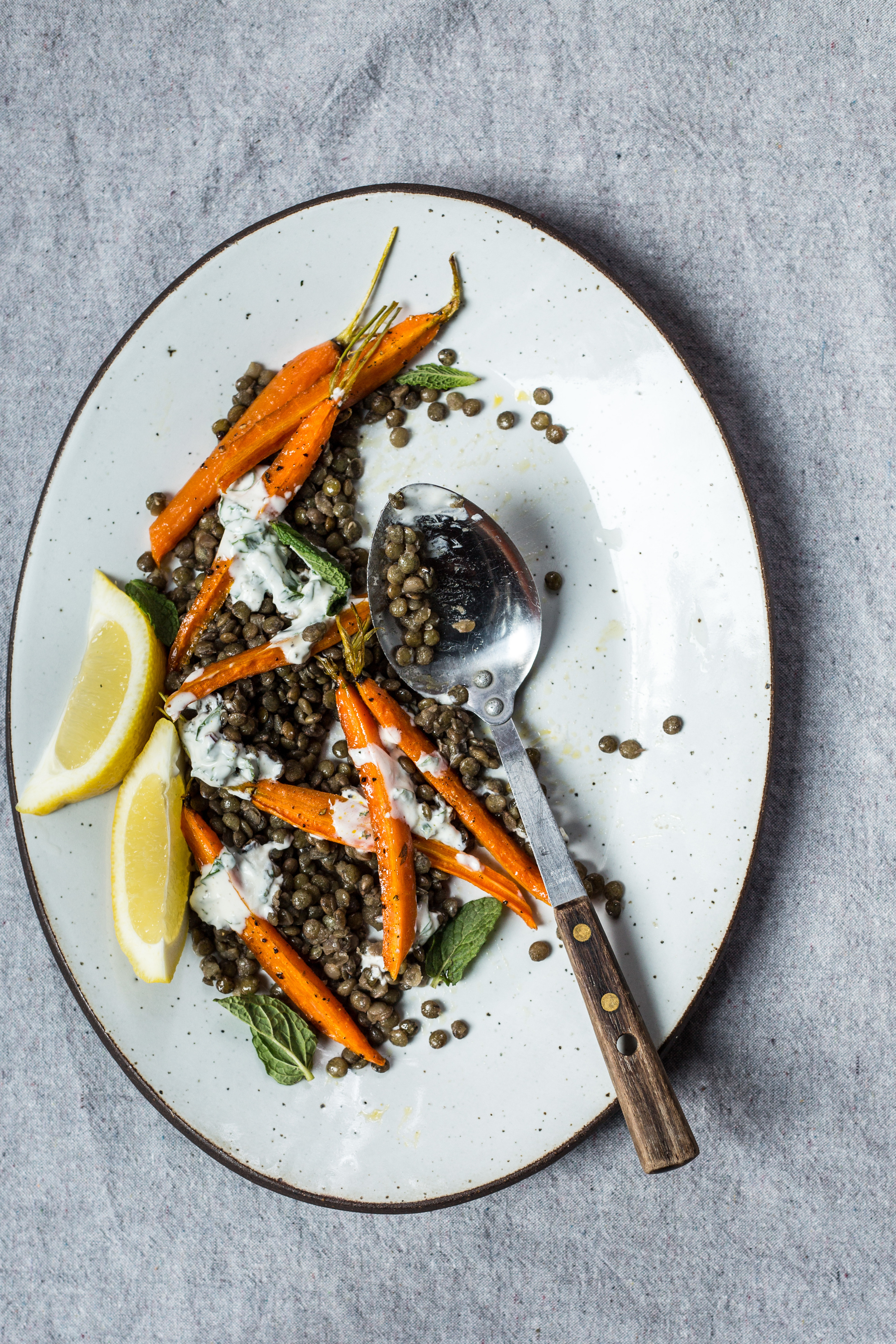 ROASTED CARROTS WITH LENTILS + HERBED YOGURT